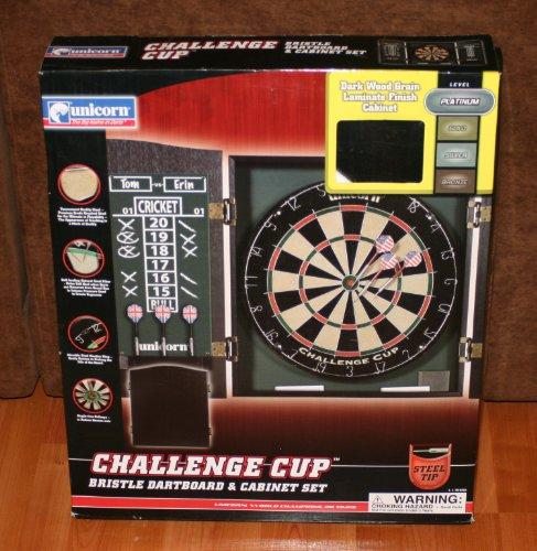 Product Name : Unicorn Challenge Cup Bristle Dartboard U0026 Cabinet Starter  Set   Platinum Level