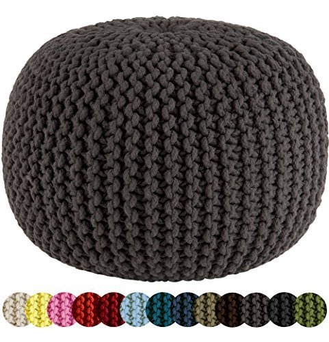 Cotton Craft - Hand Knitted Cable Style Dori Pouf - Grey - Floor Ottoman - 100% Cotton Braid Cord - Handmade & Hand stitched - Truly one of a kind seating - 20 Dia x 14 High by Orient Originals Inc. [並行輸入品]