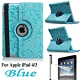 Eallc 360°Rotating Smart Grape Flower Leather Case Cover for Apple iPad 4 3 2 UK Stock (Light Blue)