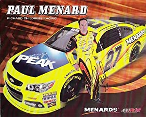 Buy 2013 Paul Menard #27 Peak Antifreeze Menards 8X10 NASCAR Hero Card *AUTOGRAPHED* by Trackside Autographs