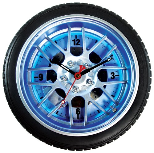 Maples Sales Tire Wall Clock with Blue Neon Light - 18 in.