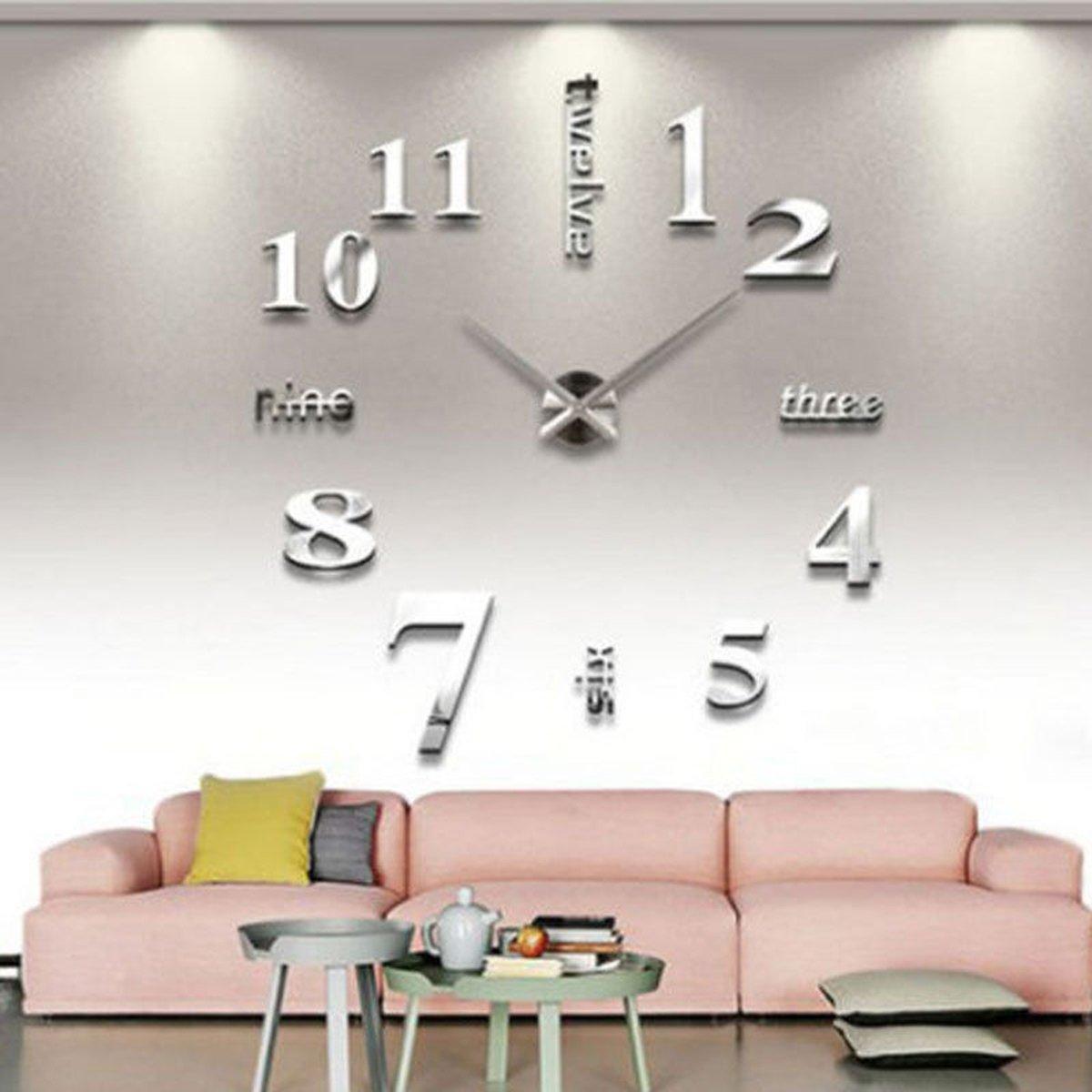 DIY große Wanduhr 3D-Spiegel-Oberflächen-Aufkleber Hauptdekoration Art Design (Silber) online kaufen