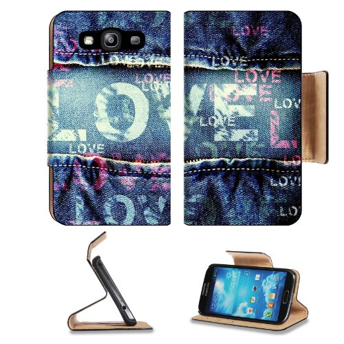 Love Printed on Denim Samsung Galaxy S3 I9300 Flip Cover Case with Card Holder Customized Made to Order Support Ready Premium Deluxe Pu Leather 5 inch (132mm) x 2 11/16 inch (68mm) x 9/16 inch (14mm) Liil S III S 3 Professional Cases Accessories Open Camera Headphone Port I9300 LCD Graphic Background Covers Designed Model Folio Sleeve HD Template Designed Wallpaper Photo Jacket Wifi 16gb 32gb 64gb Luxury Protector Micro SD Wireless Cellphone Cell Phone