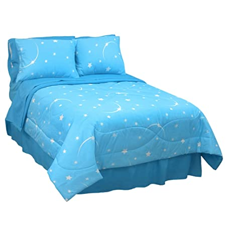 Blue star pattern glow in the dark bedding for girls bedroom decor