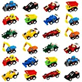 Jerryvon Pull-BackVehicles Mini Toy Cars 24 Pack Assorted Trucks and Raced Car Toy Set with 2 Sets Dumps Trucks Diggers Bullozers Racing Cars Karting Construction Party Favors for Kids 24PCS