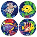 CoasterStone AS535 Absorbent Coasters, Tropical Lagoon, 4-1/4-Inch, Set of 4