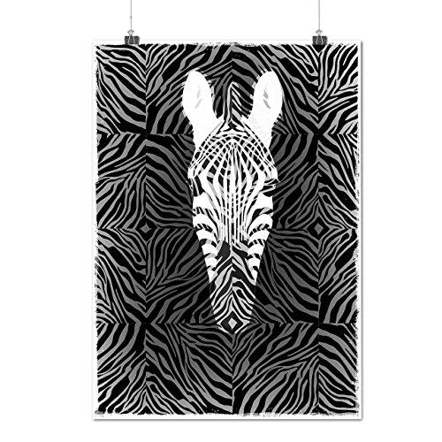 Zèbre Silhouette Rayé Mode Matte/Glacé Affiche A2 (60cm x 42cm)   Wellcoda
