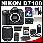 Nikon D7100 Digital SLR Camera Body with 18-140mm VR Lens + 32GB Card + Case + Grip + Battery + Remote + 3 Filter Kit