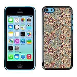 Omega Covers - Snap on Hard Back Case Cover Shell FOR Apple iPhone 5C - Fabric Texture Indian Floral Art