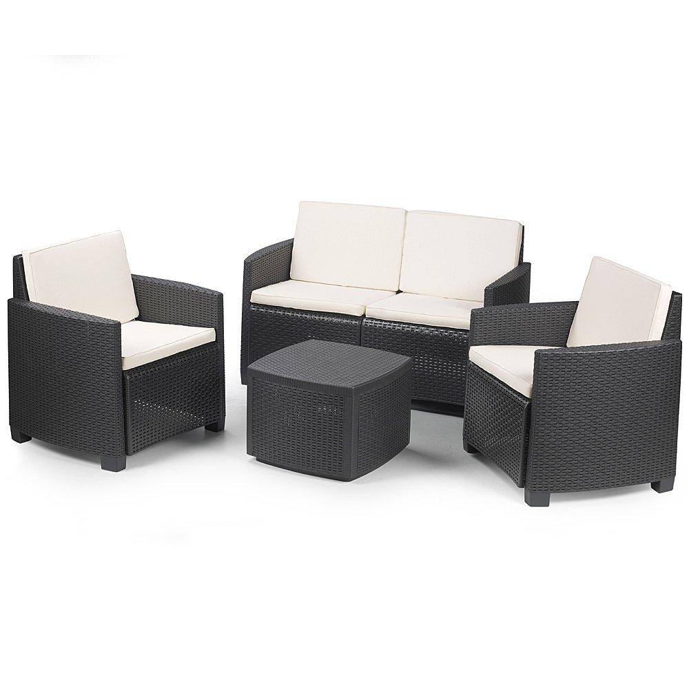edle polyrattan sitzgruppe etna schwarz mit hell beigen. Black Bedroom Furniture Sets. Home Design Ideas