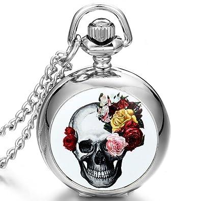 02120178bd8110 JewelryWe Gioielli collana con pendente da uomo donna Retro Gotico bianco  Base fiore cranio pendente argento Orologio da tasca catenina lunga 80cm