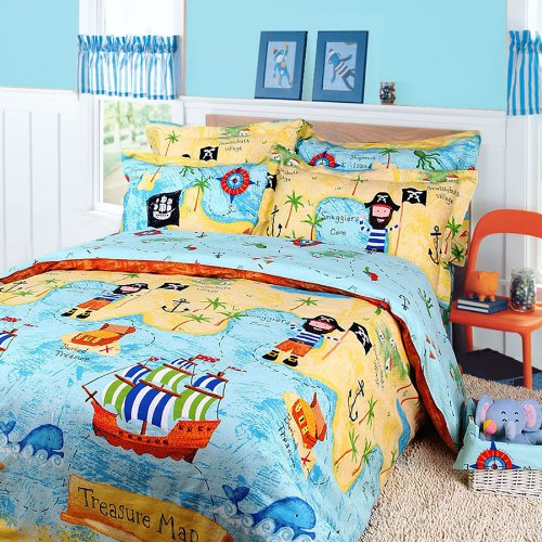 Pirates Of The Caribbean Duvet Cover Set Sky Blue Boys Bedding Kids Bedding, Full Size