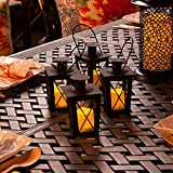 Set of 4 Black Powder Coated Mini Crossbar Lanterns with Votives and Remote