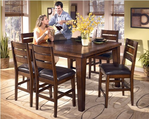Butterfly Leaf Pub Table by Ashley - Rich burnished dark brown wood (D442-32)