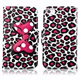 Fashion Youth Series Cute Design Bow Bowknot Leopard Print Wallet Flip Case Folio PU Leather Stand Cover with Card Slots for Apple iPhone 4 4S + Free Lovely Gift