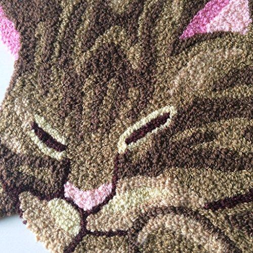 Hughapy® Brown Cute Sleeping Cat Shaped Bedroom Area Rug