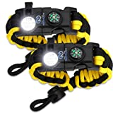 Nexfinity One Survival Paracord Bracelet - Tactical Emergency Gear Kit with SOS LED Light, Knife, 550 Grade, Adjustable, Multitools, Firestarter, Compass, and Whistle - Set of 2 Yellow (Color: Yellow/Black, Tamaño: Medium)