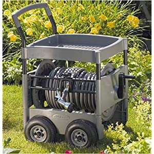 Suncast 300' Capacity Steel-Core Garden Hose Reel Cart with Tray And Hose Guide #FWT300