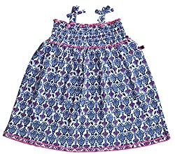 Babeez Baby Girl Singlet All Over Printed Dress with Smocking to fit height 80-86cms (100%Cotton)