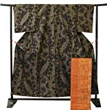 博多着物市場 きものしらゆり 純泥染 本場 大島紬 径横絣 七マルキ 袋帯 セット 仕立て上がり 正絹