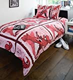 Comic Book Stamps Spiderman Red Pink Double Bed Size Childrens Superheroes Duvet Cover Quilt Bedding Set