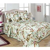 Turu Cotton 5 Piece Bedding And Comforter Set : Jade Garden, 1 Comforter + 2 Cushion Covers + 2 Pillow Covers