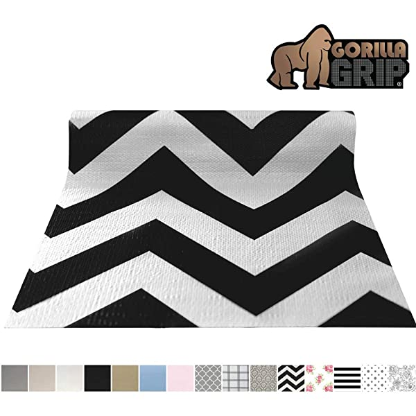 Gorilla Grip Original Smooth Top Slip-Resistant Drawer and Shelf Liner, Non Adhesive Roll, 17.5 Inch x 10 FT, Durable Kitchen Cabinet Shelves Liners for Kitchens Drawers andDesk, Chevron Black White (Color: Chevron: Black/White, Tamaño: 17.5 x 10')