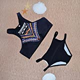 Sellify Small : Generic 2016 Top Neck Retro Printed Bikini Sets Women Push Up Swimwear Striped Swimsuit Swimming...