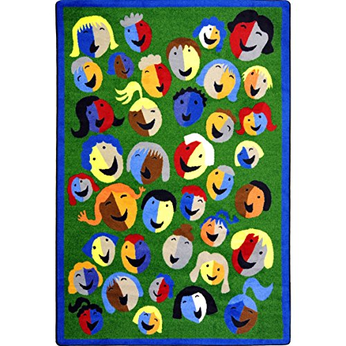"Joy Carpets Kid Essentials Early Childhood Joyful Faces Rug, Green, 10'9"" x 13'2"""
