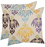 Safavieh Pillows Collection Dina Decorative Pillow, 18-Inch, B, Multicolored, Set of 2