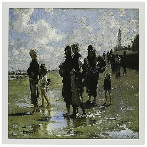 3dRose Oyster Gatherers At Cancale, John Singer Sargent Greeting Cards, 6