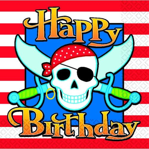 Pirate Party Birthday Beverage Napkins (16 ct) (16 per package)
