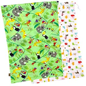 "Kushies ""On the Go"" 2 Pack Wet Bag, Green  (Patterns and Colors May Vary)"