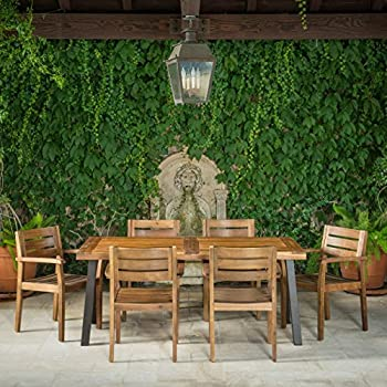 Avalon Outdoor 7 Piece Teak Finish Acacia Wood Dining Set with Rustic Metal Accents on the Table