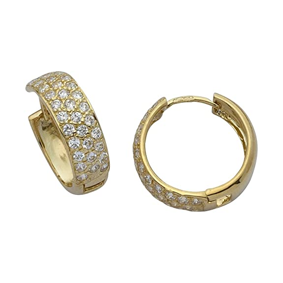Adara 9 ct Gold Cubic Zirconia Huggie Earrings