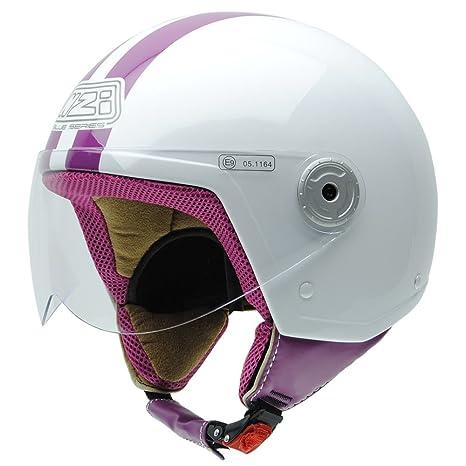 NZI 150251G325 Vintage II CWP Casque de Moto, Blanc/Rose, Taille : L