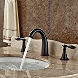 Senlesen Deck Mounted Three Holes Double Handles Widespread Bathroom Sink Faucet, Oil Rubbed Bronze