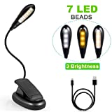 Reading Light,URSMART 8 LED Book Light,Portable Music Stand Light with 4 Levels Brightness,Flexible Clip On Bed Desk Lamp for Bookworms, Kids & Music Players (Power Storage) (Color: Power Storage)