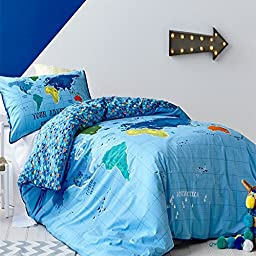 Auvo Kids Bedding Set, World Map Blue Plaid Boys Duvet Cover Sets (Twin, 2 Pieces)