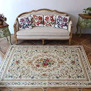 Diaidi rustic area rugs vintage shabby for Living room rugs amazon
