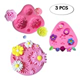 Mity Rain Flower Cake Fondant Molds 3 Pack Mini Flower Silicone Molds Roses Flower Mold Daisy Flower Molds and Small Flower Molds Accessories Molds (Color: Pink)