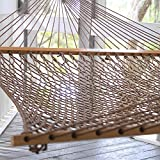 Pawleys Island DuraCord Rope Hammock, Extra Large, Antique Brown (Available in Multiple Colors and Sizes), Includes a Custom Storage Bag and Heavy Duty Screw-In Hooks for Easy Attachment To Trees, Pergola, Gazebo, etc., Fits Two People Comfortably, Hand M