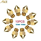 Anet 10pcs MK8 Extruder Nozzle for 3D Printer, 5 Different Size 0.2mm 0.3mm 0.4mm 0.5mm 0.6mm Brass Nozzles Print Head for 1.75mm ABS PLA Filament - Each size 2pcs (Gold) (Color: gold, Tamaño: 13mm x 5mm)