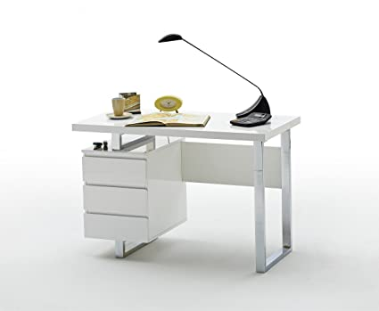 Dreams4Home Schreibtisch 'Dyna I' - Tisch, Burotisch, Arbeitstisch, B/H/T: 115 x 76 x 60 cm, Gestell: Metall verchromt, 3 Schubkästen, Tischplatte: MDF Hochglanz lackiert, Buro, Arbeitszimmer, Jugendzimmer, bis 30 kg, Hochglanz weiß