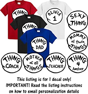 THING Shirt Iron On Decal Transfers (Large (8.5 inch diameter))