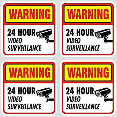 Jancosta 24 Hour Video Surveillance Sticker Decals, Security Warning Sign for Business and Home