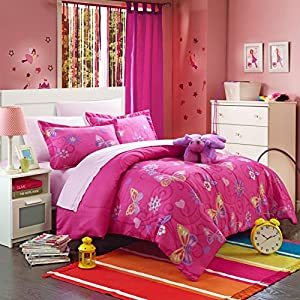 Chic Home 8 Piece Rosie Butterfly Bed in a Bag Comforter Set with Sheet Set, Full, Pink