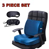 Lower back Pain Support Memory Foam Seat Cushion and Lumbar Support Back Pillow for Tailbone and Sciatica Relief Office Chair and Car Backrest Cushion with Premium Adjustable Strap Qutool (Blue) (Color: Blue)
