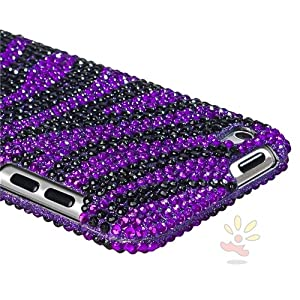 Everydaysource Purple / Black Zebra Bling Snap-on Case Compatible with Apple iPod touch 4th Generation