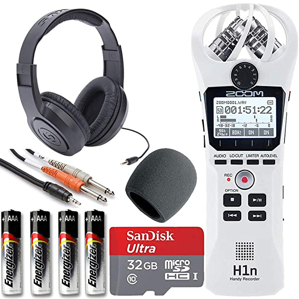 Zoom H1n Handy Recorder + On Stage Windscreen + SanDisk Ultra 32GB Card + Cable + Samson Headphones + Energizer AAA Batteries (White) (Color: White)